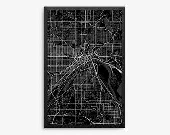 Saint Paul City Street Map, Saint Paul Minnesota USA, Modern Art Print, Saint Paul Office Decor, Saint Paul Home Decor Idea, Saint Paul Map