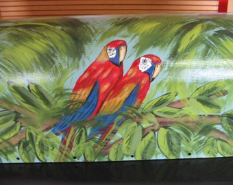 Tropical Parrot Parrots Hand Painted Mailbox Standard Post Steel Mailboxes Handpainted