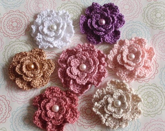 7 Crochet Flowers With Pearls  YH-151