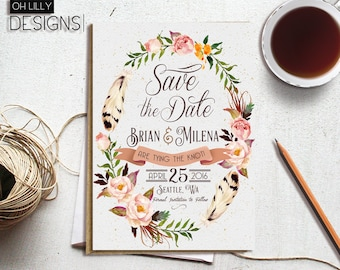 Floral Save the Date, Save the Date Botanical, Printable Save the Date, Wedding Announcement, Greenery Save the Date