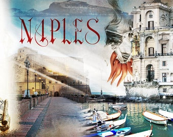 Naples, Colorful Wall Art, Digital Art, Printable Poster, Digital Download, Printable Photography, Printable Art,  Photographic Collage