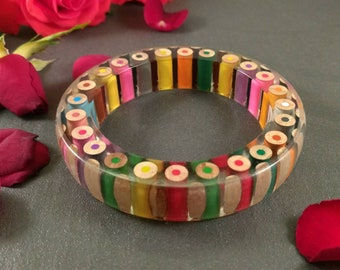 Resin bangle - 'Tricky - Bow tie'       *Free UK postage*