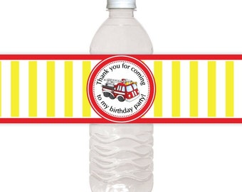 Fire Truck Water Bottle Labels, CUSTOM Printable Birthday Water Bottle Labels, you print, you cut, DIY water bottle labels