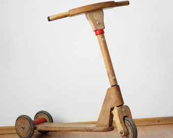Vintage Wooden Scooter for kids / Romanian Trottinette for children / Socialist Wood Toy / Made in Romania 80s