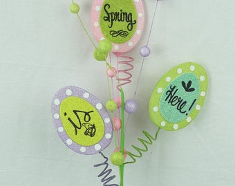 """25"""" Spring is Here-Egg Shaped Spray/Wreath Supplies/Easter Decor/61895EAS"""