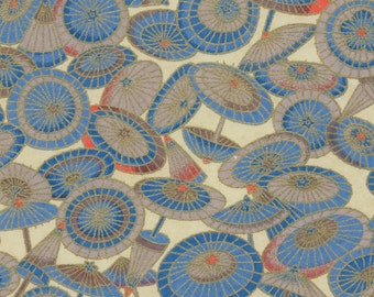 Chiyogami or yuzen paper - sunny day parasol - slate blue, taupe and coral with gold accents, 9x12 inches