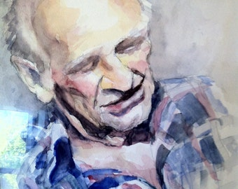 watercolour portrait, custom portrait in watercolour, memory portrait