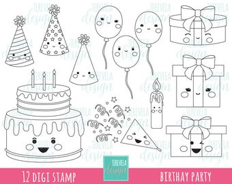 50% SALE BIRTHDAY digital stamp, party digi stamp, commercial use, kawaii digi stamp, birthay cake, Gifts, balloons, coloring page