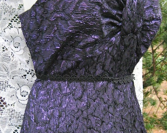 80s prom dress, Like NWT, METALLIC Purple dress,  Like New With Tags 1980s 80s Marilyn 50s style, dark plum sleeveless purple dress lnwt