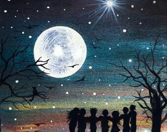 full moon group hug - silhouette - miniature miniature limited edition print mounted on wood