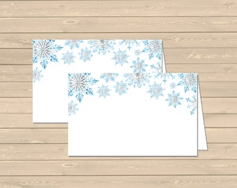 Blue Snowflake Printable Food Tent Cards Place Cards, Snowflake Buffet Place Cards, DIY Food Table Sign, Winter Decor Instant Download 303-B