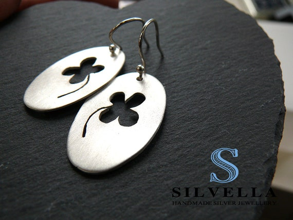 Sterling Silver Clover Earrings - Silver Earrings - Handmade in Wales - Gift for Her - Birthday Gift