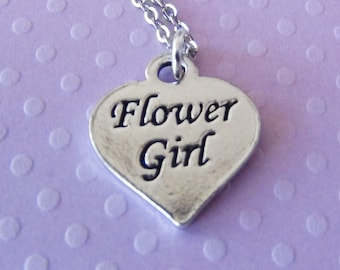 FLOWER GIRL Heart - Pewter Charm on a FREE Plated Chain