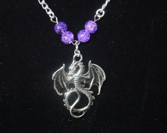 Silver Dragon Necklace with Purple
