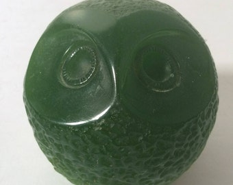 Vintage figural owl carved Faux Jade  - made exclusiley for WONY  Italian