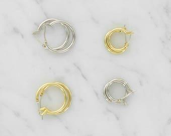 Small Simple Hoop Earrings - Gold - Silver - Hoops - Minimal Everyday Jewelry - Classic Hoops - Sleeper Hoop Earrings