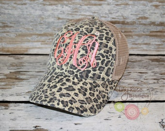 Leopard Trucker Hat, Distressed Tan Trucker Hat - Monogrammed Ball Cap, Personalized Trucker Hat