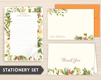 Personalized Stationery Set | Floral Stationery Set | Custom Stationery | Women's Personal Stationery | Custom Gift | Floral Frame