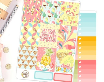 Hello Spring Vertical Sticker Kit for use in Erin Condren Weekly Kit