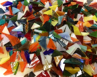 CLEARANCE - 50 MIXED TRIANGLES Tiny Size Stained Glass Tile Supply J9