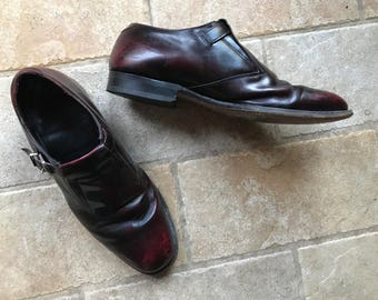 Jahrgang 1960 Mens Oxblood Schnalle Johnston und Murphy Schuhe 9 1/2 D