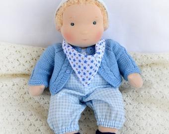 """14"""" (36 cm) Waldorf Doll Baby boy. Steiner doll-cloth doll-waldorfpuppe-handmade doll-soft rag doll"""