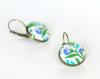 Antique Leverback Earrings - Fresh Turquoise Flowers - Blue and Green Flowers on White - Floral Fabric Covered Buttons Earrings