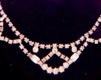 Vintage Rhinestone Princess Necklace Wedding Brides Jewelry Bridesmaid Jewelry Maid of Honor Jewelry Rhinestone Necklace Estate Jewelry