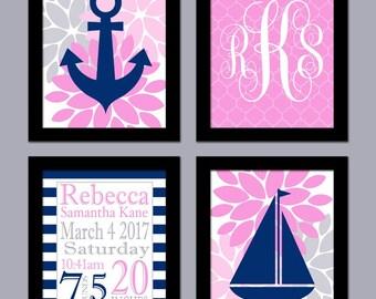 Nautical Nursery Wall Art - Girl Nursery Art - Birth Announcement Art