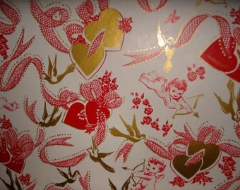 Vintage Old Store Stock Valentine wrapping paper