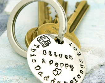 Handmade silver or copper keyring  first fathers day  new dad personalized gift  uncle gift  grandpa  gifts for dad  fathers day gift