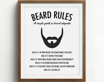 Beard Print, Gifts for him, Beard Art, Husband Gift, Boyfriend Gift, Beard Rules, Beard Quote