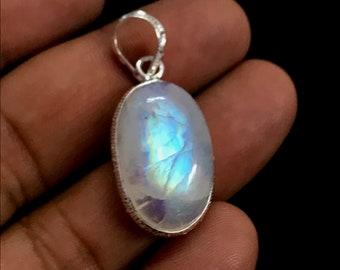 Genuine Rainbow Moonstone Pendant Jewelry, 925 Sterling Silver Rainbow Moonstone Pendant, AA Rainbow Flashy Moonstone Bezel Pendant Necklace