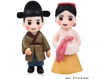 2 Pc  Couple Oriental Adorable Miniature Garden Plants Terrarium Dollhouse Ornament Fairy Decoration CO0613