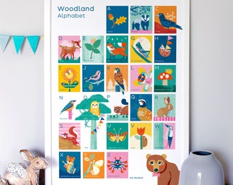 Woodland Alphabet Nursery Print