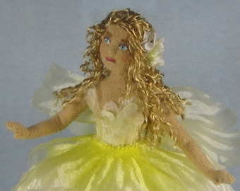 Yellow Flower Fairy Soft Sculpture Miniature Doll by Marie W. Evans