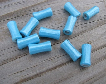 Blue Acrylic Beads- 12x6mm hourglass shaped- set of 40