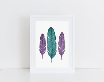 Feathers Print Purple and Teal Watercolour Feather Watercolour Art Feather Illustration Print Teal and Purple Decor Nursery Art Feather Art