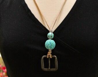 Blu porta badge id perline turchese / occhio portabicchieri / spedizione breakaway collana gratis