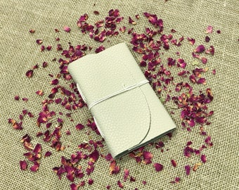 Handmade, Recycled Pale Leather Grimoire Notebook - 60 pages