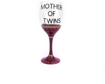 Mother of Twins / Great Mothers Day gift / Hand painted wine glasses / Decorated wine glasses / Fantasy wine glass / Mother of Dragons