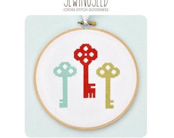 Colorful Skeleton Keys Cross Stitch Pattern Instant Download