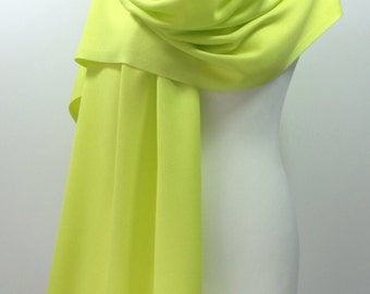 Neon Pashmina Scarf, Maid Of Honor Gift, Yellow Green Pashmina Scarf, Bright Citrus Shawl,  Cotton Scarf, Pashmina Shawl, Bridesmaid Gift