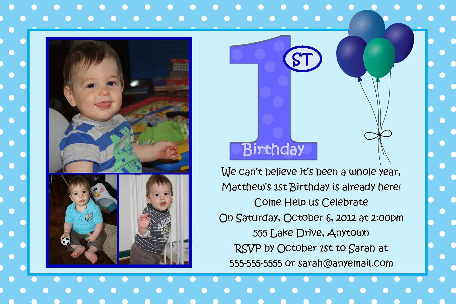 First Birthday Blue Boy Birthday Invitation You Print