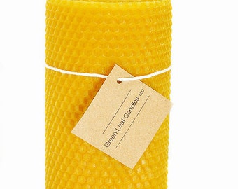 "3x8"" Beeswax Candle  - 100% Beeswax Candle - Rolled Beeswax Pillar Candle"