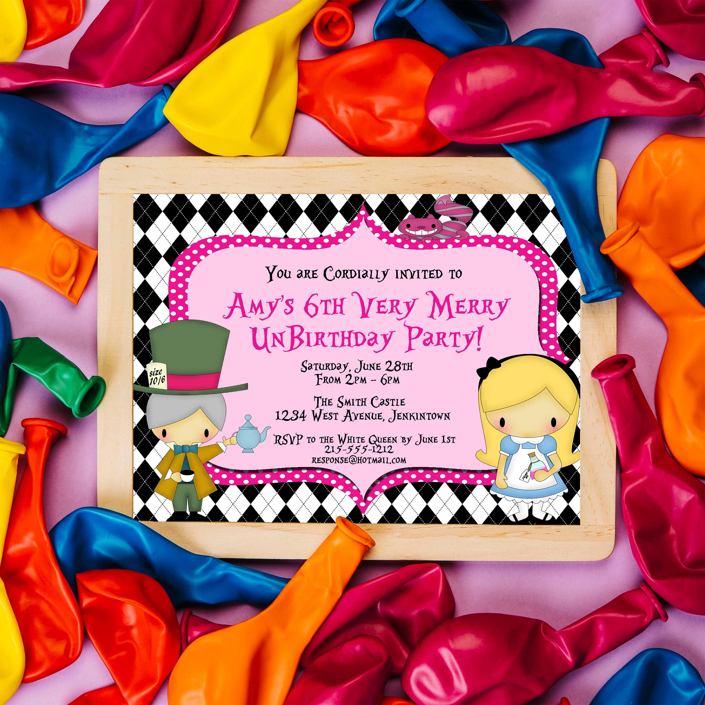 Alice in Wonderland Birthday Invitation Mad Hatter UnBirthday
