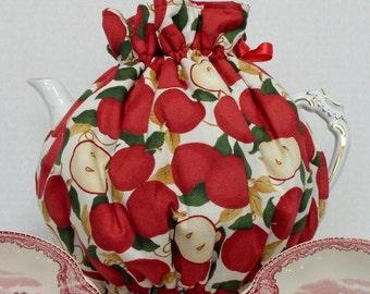 Handmade Tea Cozy - Tie On Tea Cozy- Country Red Apples Tie On Reversible Tea Cozy