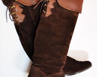 Vintage Knee High Fold Up Brown Suede Flat Boots with Lace Up Detail