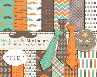 Necktie and Mustache Digital Papers, Little Man, Boy Birthday, Father's Day Digital papers and Clipart, Scrapbooking