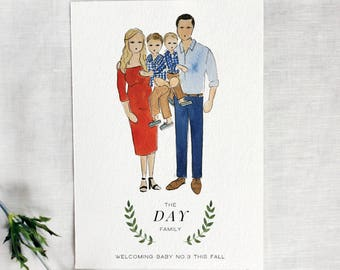 Custom Illustrated pregnancy announcement, Couple Illustration, Hand Painted Announcement, Digital Printable